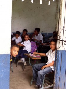 Students in class at the middle school in La Ceiba, Nicaragua
