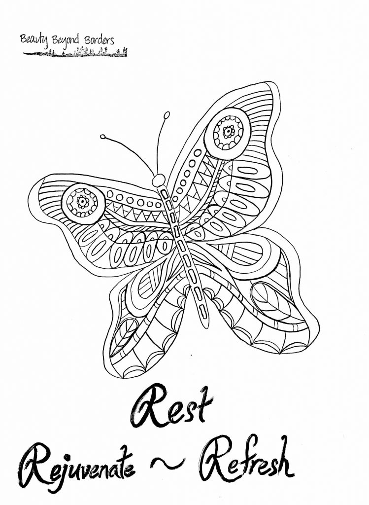 Rest ~ Rejuvenate ~ Refresh butterfly coloring page