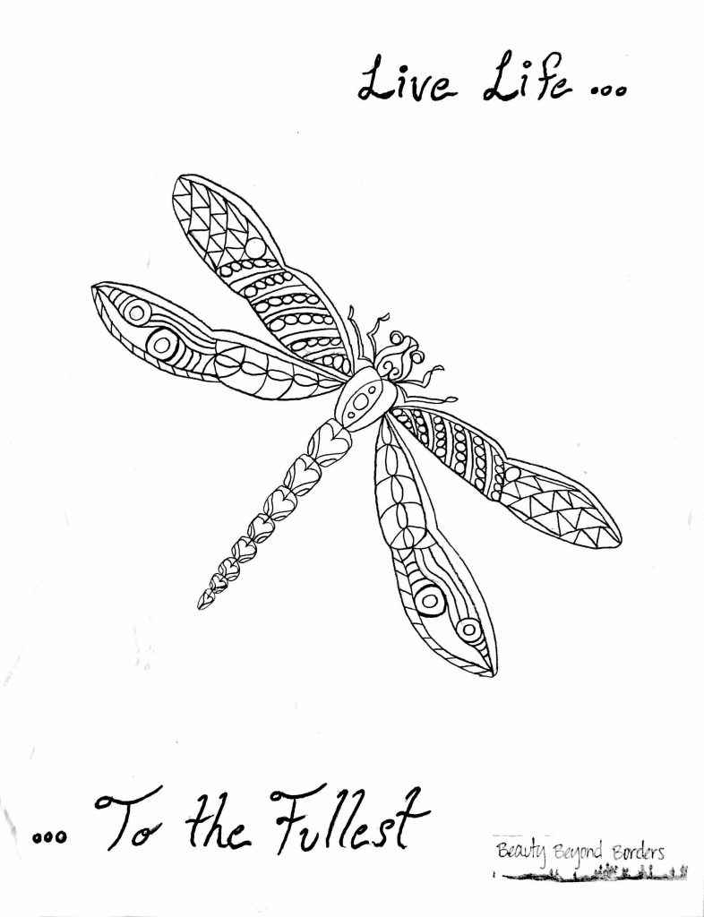 Live Life to the Fullest dragonfly coloring page