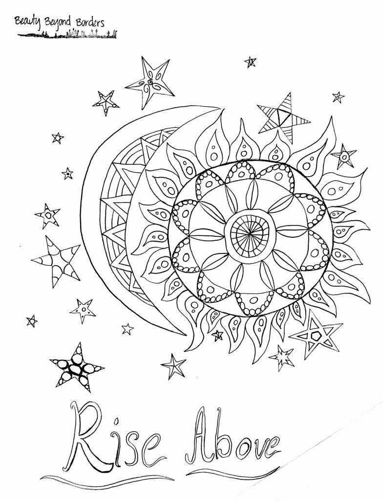 Rise Above sun and moon coloring page