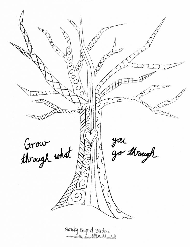 Grow through what you go through tree coloring page